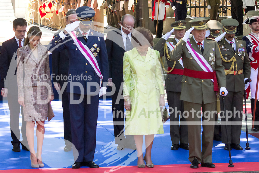 01.06.2013. Madrid. Spain. Spanish Royal family attend the Armed Forces Day. In the image: Princess Letizia of Spain, Prince Felipe of Spain, Queen Sofia of Spain and King Juan Carlos of Spain. (C) Ivan L. Naughty / DyD Fotografos//