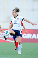 US Women's National midfielder Lauren Cheney (12) in action during the International Friendly soccer match between the USA Women's National team and the Korea Republic Women's Team held at Gillette Stadium in Foxborough Massachusetts.   Eric Canha/CSM