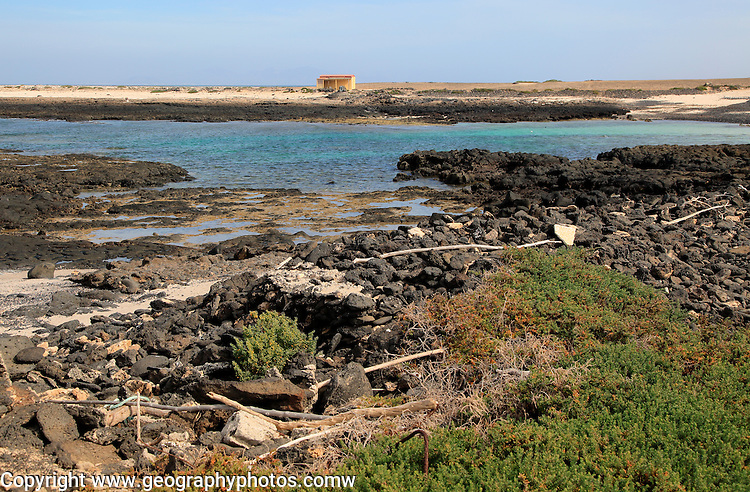 Coastal landscape near village of Majanicho on the north coast, Fuerteventura, Canary Islands, Spain
