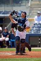 Charlotte Stone Crabs catcher Zacrey Law (6) during a Florida State League game against the Dunedin Blue Jays on April 17, 2019 at Charlotte Sports Park in Port Charlotte, Florida.  Charlotte defeated Dunedin 4-3.  (Mike Janes/Four Seam Images)