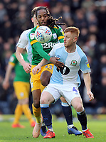 Blackburn Rovers' Harrison Reed vies for possession with  Preston North End's Daniel Johnson<br /> <br /> Photographer Rich Linley/CameraSport<br /> <br /> The EFL Sky Bet Championship - Blackburn Rovers v Preston North End - Saturday 9th March 2019 - Ewood Park - Blackburn<br /> <br /> World Copyright © 2019 CameraSport. All rights reserved. 43 Linden Ave. Countesthorpe. Leicester. England. LE8 5PG - Tel: +44 (0) 116 277 4147 - admin@camerasport.com - www.camerasport.com