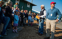 Trainer Bob Baffert speaks to a group of visitors on May 17, 2012 while preparing for the 137th running of the Preakness Stakes at Pimlico Race Course in Baltimore, Maryland