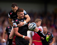 Exeter Chiefs' Henry Slade celebrates scoring his sides first try with Exeter Chiefs' Nic White<br /> <br /> Photographer Bob Bradford/CameraSport<br /> <br /> Gallagher Premiership - Exeter Chiefs v Northampton Saints - Saturday 18th May 2019 - Sandy Park - Exeter<br /> <br /> World Copyright © 2019 CameraSport. All rights reserved. 43 Linden Ave. Countesthorpe. Leicester. England. LE8 5PG - Tel: +44 (0) 116 277 4147 - admin@camerasport.com - www.camerasport.com
