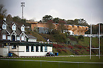 An exterior view of the Crabble, home to Dover Athletic, with the Dover Rugby Club's clubhouse in the foreground. The photograph was taken on the day that National League Dover Athletic hosted League 2 Cambridge United in an FA Cup first round replay, which the visitors won 402 after extra time. The wooden stand pictured in the background, is the new Family Stand, which was opened two days later at the club's fixture against Guiseley.