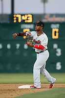 Fernery Ozuna (2) of the Visalia Rawhide throws during a game against the Lancaster JetHawks at The Hanger on August 9, 2017 in Lancaster, California. Lancaster defeated Visalia, 7-4. (Larry Goren/Four Seam Images)
