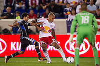 Thierry Henry (14) of the New York Red Bulls takes a shot during the second half against the San Jose Earthquakes. The New York Red Bulls and the San Jose Earthquakes played to a 2-2 tie during a Major League Soccer (MLS) match at Red Bull Arena in Harrison, NJ, on April 14, 2012.