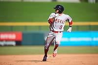 Scottsdale Scorpions David Fletcher (3), of the Los Angeles Angels of Anaheim organization, during a game against the Mesa Solar Sox on October 18, 2016 at Sloan Park in Mesa, Arizona.  Mesa defeated Scottsdale 6-3.  (Mike Janes/Four Seam Images)
