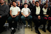 Students from Harriet Tubman Elementary School sit in the front row of the audience during the ceremony where U.S. President Barack Obama signed the Healthy, Hunger-Free Kids Act of 2010 at the school, Monday, December 13, 2010 in Washington, DC. In an effort to provide children with better school lunches and breakfasts, the new law puts $4.5 million in the hands of child nutrition programs, sets nutrition standards on school vending machines, helps create school gardens and makes sure that quality drinking water is available during meal times.  .Credit: Chip Somodevilla - Pool via CNP