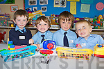 Having fun on their first day of school in Currow NS on Friday was l-r: Anthony Galvin, Joshua Ryan, Daniel McCarthy and Anthony O'Connor ..