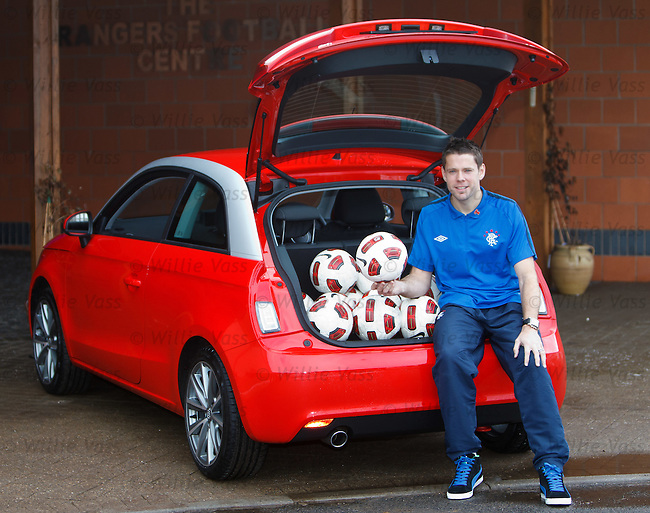 James Beattie with a new Audi A1 as fans can win the car if they can kick a ball in to the boot from the half way line