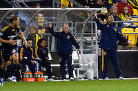 26 SEPTEMBAR 2009: of the LA Galaxy coaches Colby Jones, Dave Sarachan and Bruce Arena during the Los Angeles Galaxy at Columbus Crew MLS game in Columbus, Ohio on May 27, 2009.