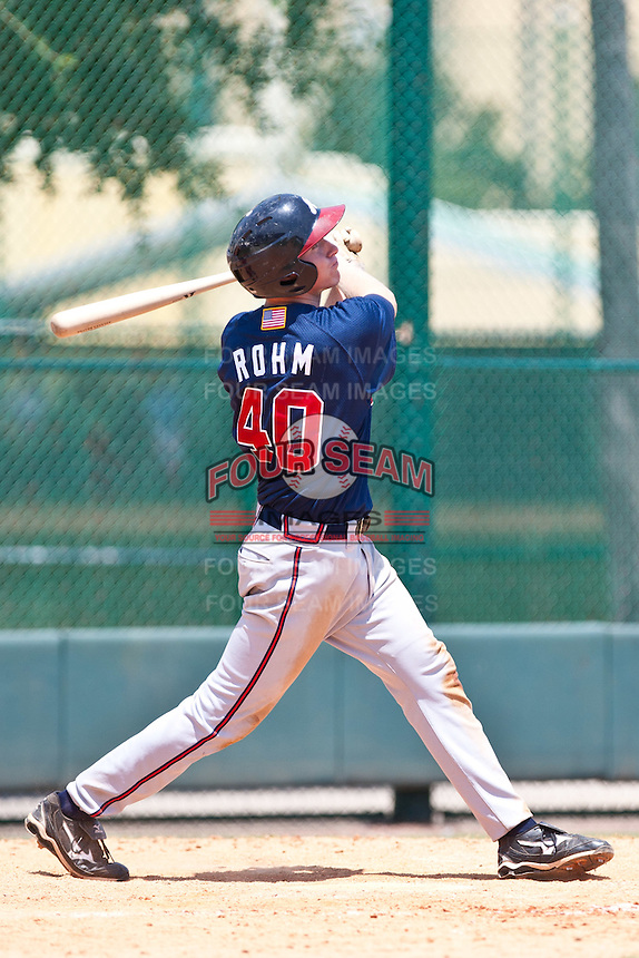 David Rohm of the Gulf Coast League Braves during the game against the Gulf Coast League Phillies July 10 2010 at the Disney Wide World of Sports in Orlando, Florida.  Photo By Scott Jontes/Four Seam Images