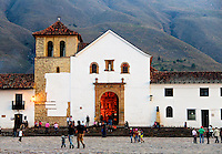 The steps of the Cathedral in Plaza Mayor is a common place to hang out in the small town of Villa de Leyva, Colombia.