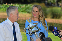 January 28, 2018: The 2018 Australian Open Women's Champion Caroline Wozniacki of Denmark speaks to the media with the tournament director Craig Tiley at the Botanical Gardens in Melbourne, Australia. Photo Sydney Low