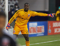 United's Bill Hamid directs his plaers during the run of play. DC United defeated the LA Galaxy 1-0 with a stoppage time goal from Chris Pontius at RFK Stadium in Washington DC.
