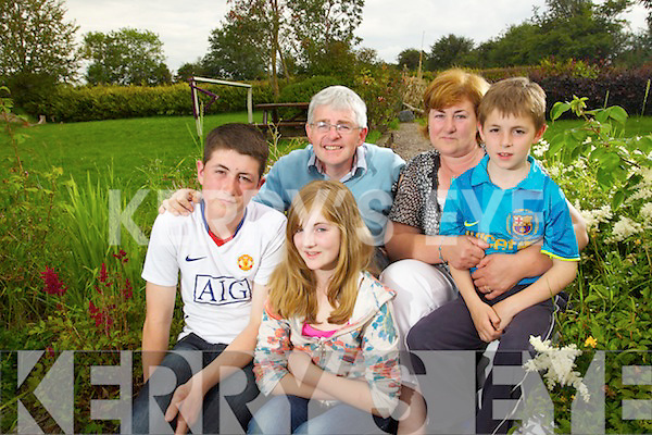 The O'Sullivan Family in the centre of the parish rule Row Parents Michael and Christina with their children Padraig, Aisling and Colin.