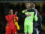 Liverpool's Jurgen Klopp celebrates with Simon Mignolet during the Premier League match at Vicarage Road Stadium, London. Picture date: May 1st, 2017. Pic credit should read: David Klein/Sportimage