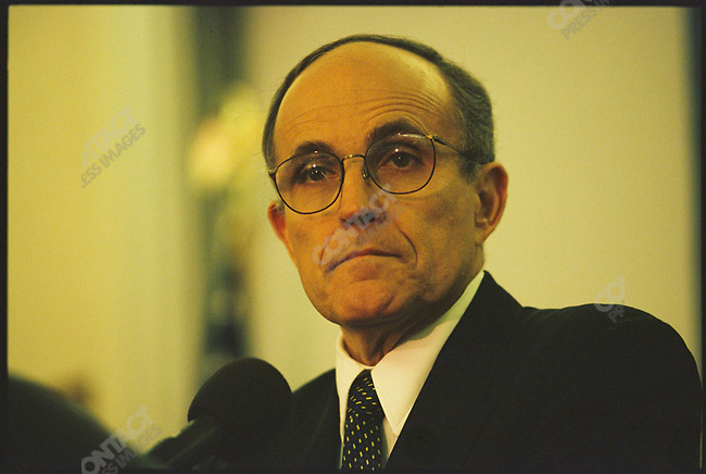 New York City Mayor Rudolph Giuliani speaks at the Audobon Science and Technology Park at Columbia University Medical Center. New York City, New York, USA, December 1998.