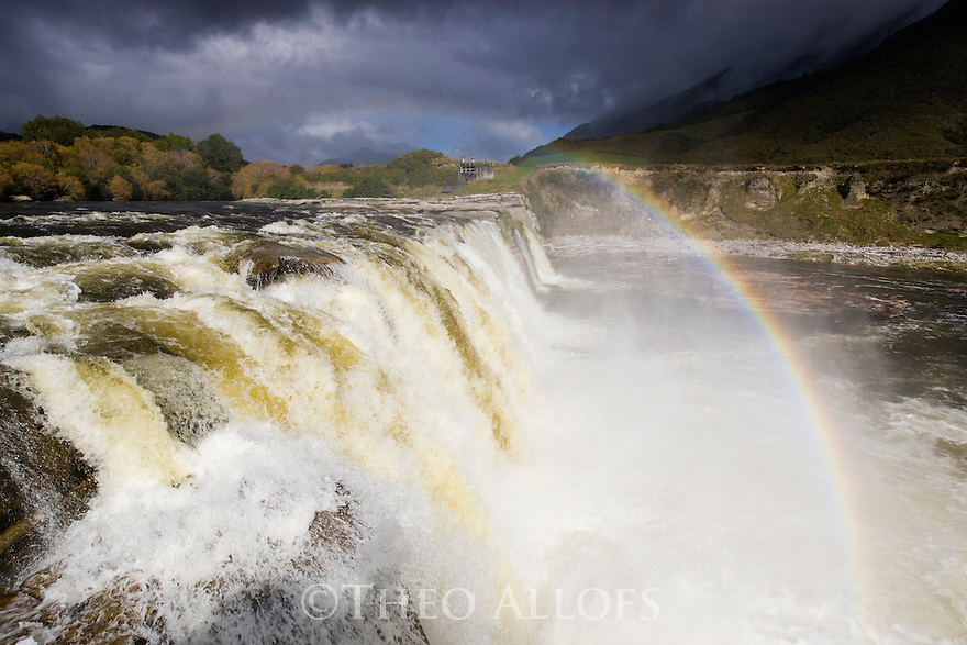 Approaching rain storm at Maruia Falls, South Island, New Zealand