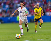 LE HAVRE,  - JUNE 20: Alex Morgan #13 dribbles forward during a game between Sweden and USWNT at Stade Oceane on June 20, 2019 in Le Havre, France.