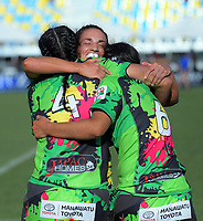 Manawatu celebrate winning the women's cup final on day two of the 2018 Bayleys National Sevens at Tauranga Domain in Tauranga, New Zealand on Sunday, 16 December 2018. Photo: Dave Lintott / lintottphoto.co.nz