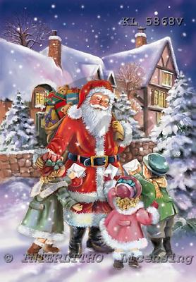 Interlitho, CHRISTMAS SANTA, SNOWMAN, paintings, KL5868V,#X# Weihnachtsmänner, Papá Noel, Weihnachten, Navidad, illustrations, pinturas klassisch, clásico