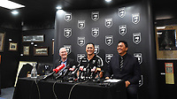 L_R CEO NZRL Alex Hayton, New Zealand Kiwis coach David Kidwell and Kiwis selector Tawera Nikau during a Rugby League World Cup press conference to annouunce the NZ Kiwis squad for the RLWC 2017. Auckland, New Zealand. Thursday 5 October 2017 © Copyright Photo: Andrew Cornaga / www.Photosport.nz copyright picture SWpix.com/Photosport NZ