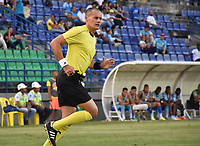 MONTERIA - COLOMBIA, 02-03-2019: Edilson Ariza, árbitro, durante el partido por la fecha 8 de la Liga Águila I 2019 entre Jaguares de Córdoba y Deportes Tolima jugado en el estadio Jaraguay de la ciudad de Montería. / Edilson Ariza, referee, during match for the date 8 as part Aguila League I 2019 between Jaguares de Cordoba and Deportes Tolima played at Jaraguay stadium in Monteria city. Photo: VizzorImage / Andres Felipe Lopez / Cont