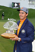 February 3rd 2019, Scottsdale, Arizona, USA;  Rickie Fowler holds the trophy and wears the Thunderbirds jacket after winning the Waste Management Phoenix Open on February 3, 2019, at TPC Scottsdale in Scottsdale, Arizona.