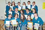 AWARDS: Students from Mercy Mounthawk Secondry school who were well rewarded for their effort in Eco Unesco ProjectFront l-r: Stacy Stack, James Christie, Celine Kissane, Vicki Nolan and Dara Rusk. Seated l-r: Niamh Kavanagh, Darragh Creagh, Eimear O'Connor, Adam Walsh and Grainne Murphy. Back l-r: Marie Kelliher, Grace Costelloe, Ross Culloty, Amy Culloty, David Smith and Avril Peevers..