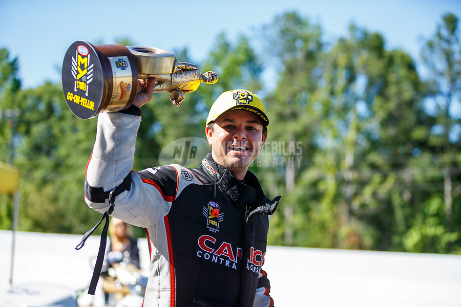 May 7, 2017; Commerce, GA, USA; NHRA top fuel driver Steve Torrence celebrates after winning the Southern Nationals at Atlanta Dragway. Mandatory Credit: Mark J. Rebilas-USA TODAY Sports