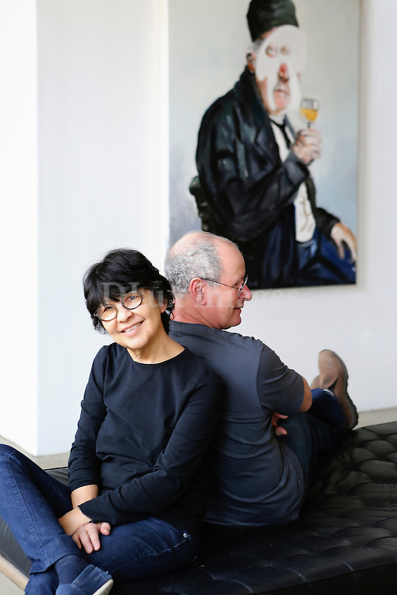 Portrait of artist Jacques Fleshemuller and his wife, Puanani