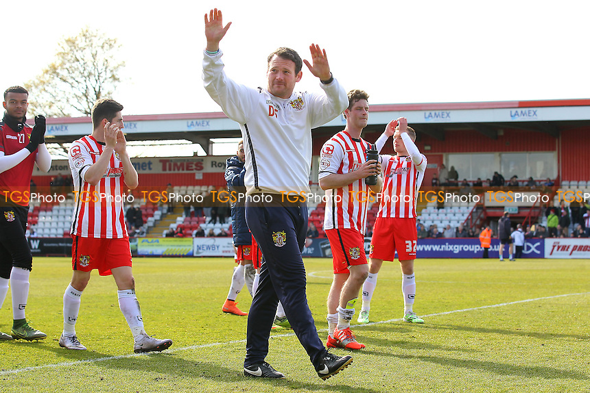 Stevenage manager Darren Sarll thanks the fans at the final whistle during Stevenage vs AFC Wimbledon, Sky Bet League 2 Football at the Lamex Stadium on 30th April 2016