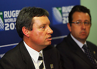 NZ Rugby 2011 CEO Martin Sneddon and Rugby World Cup general manager Ross Young announce Wellington and Christchurch as the venues for the 2011 RWC quarter-finals. 2011 Rugby World Cup Quarter-finals and Bronze Final Venue Announcement at the Rugby New Zealand 2011 offices, Wellington, New Zealand on Thursday, 4 September 2008. Photo: Dave Lintott / lintottphoto.co.nz