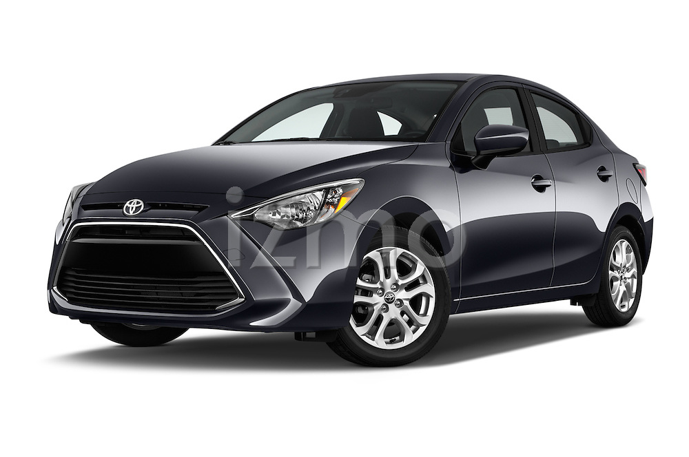 Stock pictures of low aggressive front three quarter view of 2017 Toyota Yaris-iA AT 4 Door Sedan Low Aggressive