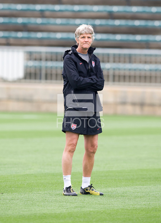 USWNT head coach Pia Sundhage watches her team during practice at WakeMed Soccer Park in Cary, NC.