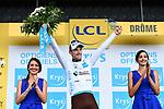 Pierre Latour (FRA) AG2R La Mondiale retains the White Jersey at the end of Stage 13 of the 2018 Tour de France running 169.5km from Bourg d'Oisans to Valence, France. 20th July 2018. <br /> Picture: ASO/Alex Broadway | Cyclefile<br /> All photos usage must carry mandatory copyright credit (&copy; Cyclefile | ASO/Alex Broadway)