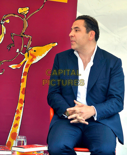 David Walliams .At a talk and signing for his children's book 'Gangsta Granny' at the Roald Dahl Museum and Story Centre, Great Missenden, Buckinghamshire, England..August 2nd 2012.half length blue suit white shirt mouth open sitting giraffe profile .CAP/JIL.©Jill Mayhew/Capital Pictures
