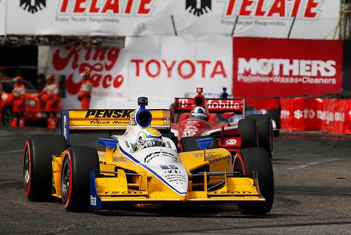 15-17 April, 2011, Long Beach, California, USA<br /> Ryan Briscoe leads Dario Franchitti<br /> ©2011, Michael L. Levitt<br /> LAT Photo USA