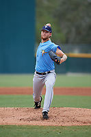 Tampa Bay Rays pitcher Easton McGee (34) delivers a pitch during an Instructional League game against the Pittsburgh Pirates on October 3, 2017 at Pirate City in Bradenton, Florida.  (Mike Janes/Four Seam Images)