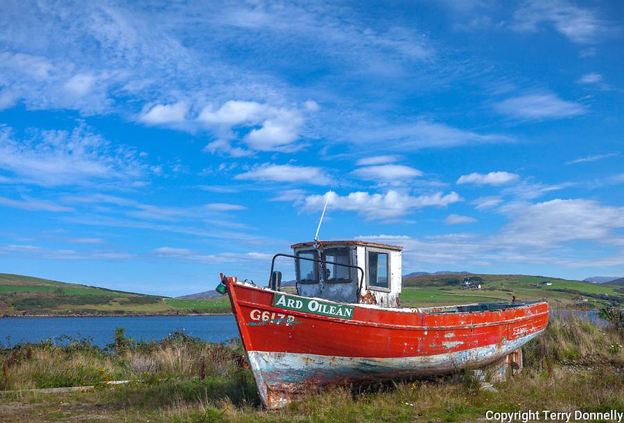 County Galway, Ireland:<br /> Retired fishing boat at Cleggan harbor in the Connemara region