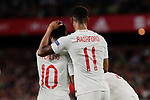 England's Raheem Sterling (L) and Marcus Rashford (R) celebrate goal during UEFA Nations League 2019 match between Spain and England at Benito Villamarin stadium in Sevilla, Spain. October 15, 2018. (ALTERPHOTOS/A. Perez Meca)