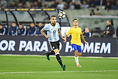 June 9th 2017, Melbourne Cricket Ground, Melbourne, Australia; International Football Friendly; Brazil versus Argentina; Nicolas Otamendi of Argentina controls a high ball