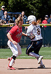 April 15, 2012:  Arizona Wildcats shortstop Shelby Pendley tags out the California Bears Danielle Henderson during their NCAA softball game played at Levine-Fricke Field on Sunday afternoon in Berkeley, California.  California won the game 6-0.