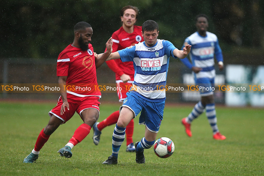 Ritco Josephs of Walthamstow and Josh Perry of Ilford during Ilford vs Walthamstow, Essex Senior League Football at Cricklefields Stadium on 6th October 2018