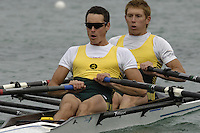 Munich, GERMANY, 2006, FISA, Rowing, World Cup, AUS LM2X Bow Camero Wurf and Sam Beltz, held on the Olympic Regatta Course, Munich, Thurs. 25.05.2006. © Peter Spurrier/Intersport-images.com,  / Mobile +44 [0] 7973 819 551 / email images@intersport-images.com.[Mandatory Credit, Peter Spurier/ Intersport Images] Rowing Course, Olympic Regatta Rowing Course, Munich, GERMANY