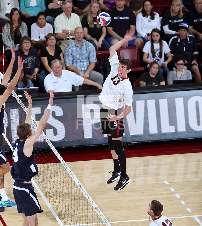 Stanford, CA; Saturday February 15, 2014: Men's Volleyball, Stanford vs  BYU.