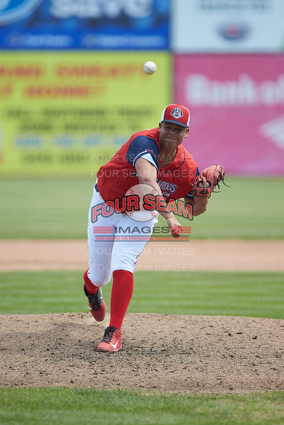 San Bernardos de Salem starting pitcher Daniel Gonzalez (47) in action against the Winston-Salem Dash at Haley Toyota Field on June 30, 2019 in Salem, Virginia. The Dash defeated the San Bernardos 3-2. (Brian Westerholt/Four Seam Images)