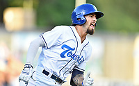 Asheville Tourists Niko Decolati (19) runs to first base during a game against the Charleston RiverDogs at McCormick Field on August 16, 2019 in Asheville, North Carolina. The Tourists defeated the RiverDogs 12-3. (Tony Farlow/Four Seam Images)