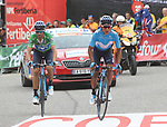 Nairo Quintana (COL) and Green Jersey Alejandro Valvede (ESP) Movistar Team cross the finish line at the end of Stage 20 of the La Vuelta 2018, running 97.3km from Andorra Escaldes-Engordany to Coll de la Gallina, Spain. 15th September 2018.                   <br /> Picture: Colin Flockton | Cyclefile<br /> <br /> <br /> All photos usage must carry mandatory copyright credit (&copy; Cyclefile | Colin Flockton)